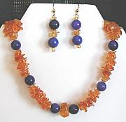 Purple Jewelry Originals - Amber Chip Necklace Earrings by Diana Dearen