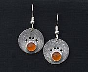 Dogs Jewelry - Amber Dog Paw Earrings by Heather  Hamilton