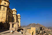 Hindi Metal Prints - Amber Fort and Blue Sky Metal Print by Inti St. Clair
