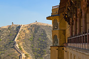 Hindi Metal Prints - Amber Fort and Wall Metal Print by Inti St. Clair