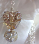 Abstract Jewelry - Amber Heart Necklace by Janet  Telander