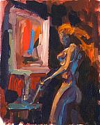 Expressionist Paintings - Amber by Mike Savlen