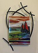 Horizon Glass Art - Amber Sky by Alice Benvie Gebhart