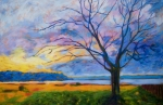 Oil Pastel Paintings - Ambleside Tree by Lisa Wolfin