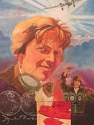 Amelia Earhart Paintings - Amelia Earhart by Chuck Hamrick