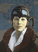 Woman Drawings Prints - Amelia Earhart Print by Suzanne Gee