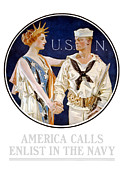 Military History Mixed Media Framed Prints - America Calls Enlist In The Navy Framed Print by War Is Hell Store