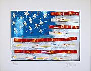Blue Wall Sculpture Framed Prints - America Edition 4 Framed Print by Mac Worthington
