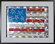 Blue Wall Sculpture Framed Prints - America Edition 5 Framed Print by Mac Worthington