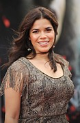 Drop Earrings Acrylic Prints - America Ferrera Wearing A James Acrylic Print by Everett