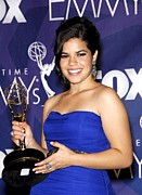 Strapless Dress Prints - America Ferrera Wearing A Monique Print by Everett