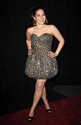 Strapless Dress Prints - America Ferrera Wearing A Vintage 1980s Print by Everett
