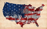 Typography Map Digital Art - America by Mark Ashkenazi