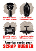 Production Digital Art Posters - America Needs Your Scrap Rubber Poster by War Is Hell Store