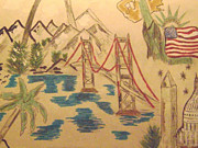 United States Of America Drawings Originals - America by Paul Rapa