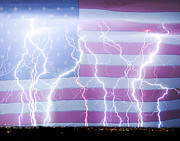 Lightning Bolts Prints - America the Powerful Print by James Bo Insogna