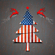 Flag Of Usa Digital Art Prints - America Xmas Tree Print by Atiketta Sangasaeng