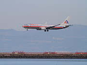 San Francisco Airport Posters - American Airlines Jet Airplane At San Francisco International Airport SFO . 7D12212 Poster by Wingsdomain Art and Photography