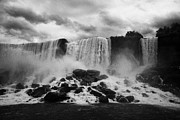 Overcast Day Photo Prints - American And Bridal Veil Falls With Luna Island And Deposited Talus Niagara Falls New York State Usa Print by Joe Fox