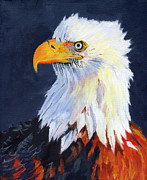 Yellow Beak Painting Posters - American Bald Eagle Poster by Mike Lester