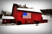 American Flag Framed Prints - American Barn Framed Print by Bill Cannon