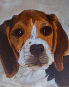 Dog Portrait Paintings - American Beagle by Maureen Diehl