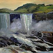 J R Baldini Metal Prints - American Bridal Veil Falls available at the Riverbrink Museum Queenston Ontario Metal Print by J R Baldini