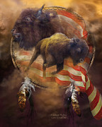 Animal Flag Art Framed Prints - American Buffalo Framed Print by Carol Cavalaris