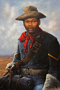 Soldier Paintings - American Buffalo Soldier by Harvie Brown