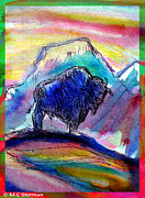 Buffalo Mixed Media Posters - American Buffalo Sunset Poster by M C Sturman