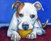 Dog Art Prints Prints - American Bulldog with Yellow Ball Print by Dottie Dracos