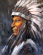 Western Art Collector Paintings - American Chief by Laurelle  Macy
