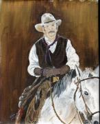 Horse Riders Painting Originals - American Cowboy by Arlene  Wright-Correll