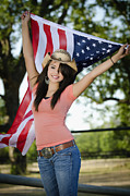 4th July Photo Originals - American Cowgirl With Flag by Andre Babiak