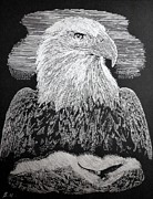 Engraving Mixed Media - American Eagle _ Engraving on silver foil by AmaS Art