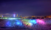 Niagara Falls Posters - American Falls in Winter by night Poster by Theo Tan