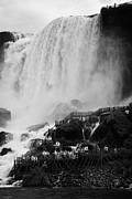 Overcast Day Photo Posters - American Falls With Cave Of The Winds Walkway Niagara Falls New York State Usa Poster by Joe Fox
