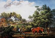 Lithograph Framed Prints - American Farm Scene, 1853 Framed Print by Granger