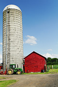 Farm Buildings Prints - American Farm Scene Print by George Oze