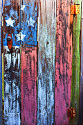 Folk Art Prints - American flag gate Print by Garry Gay