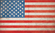 Flag Of Usa Prints - American Flag Grunge Background - Hi Res Print by Nic Taylor