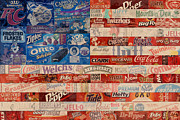 Brands Posters - American Flag - Made From Vintage Recycled Pop Culture USA Paper Product Wrappers Poster by Design Turnpike