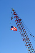 Flag Framed Prints - American Flag on Construction Crane Framed Print by Olivier Le Queinec