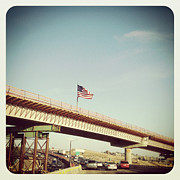 Flag Of Usa Prints - American Flag On Highway Overpass Print by ©Natasha Japp Photography