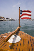 Power Boat Posters - American Flag On The Bow Of Boat Poster by James Forte