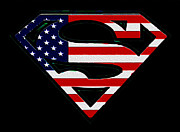 League Metal Prints - American Flag Superman Shield Metal Print by Bill Cannon