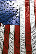 Independence Day Posters - American flag Poster by Tony Cordoza