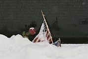 Vietnam Veterans Memorial Photos - American Flags And A Rose Commemorate by Karen Kasmauski