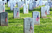 Headstones Prints - American Flags Placed In The Front Print by Stocktrek Images