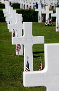 Headstones Prints - American Flags Rest In Front Print by Stocktrek Images